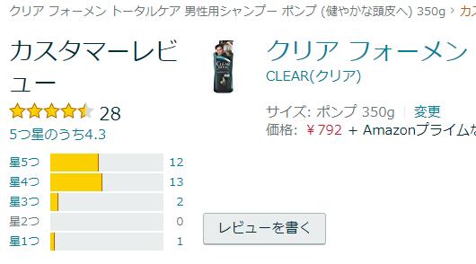 clearシャンプーメンズ用のAmazonレビュー